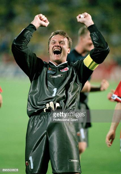 Frode Grodas of Norway celebrates victory after their final group match of the 1998 FIFA World Cup between Brazil and Norway at the Stade Velodrome...