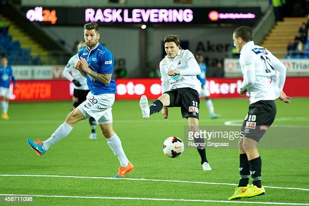 Frode Johnsen of Odd Grenland in action during the Tippeligaen match between Molde FK and Odd Grenland on November 9 2014 in Molde Norway