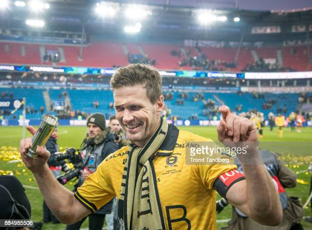 Frode Kippe celebrates after Norway Cup Final between Sarpsborg 08 v Lillestrom at Ullevaal Stadion on December 3 2017 in Oslo Norway