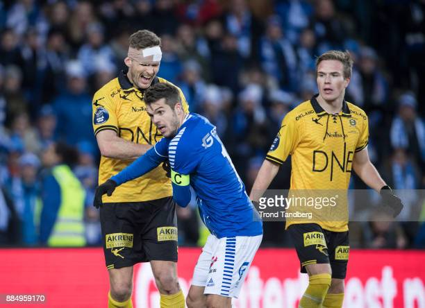 Frode Kippe Joachim Thomassen Simen Kind Mikalsen during Norway Cup Final between Sarpsborg 08 v Lillestrom at Ullevaal Stadion on December 3 2017 in...