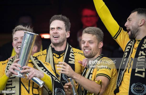 Frode Kippe Mats Haakenstad Stefan Antonijevic of Lillestrom celebrates with Trophy after victory between Sarpsborg 08 v Lillestrom at Ullevaal...