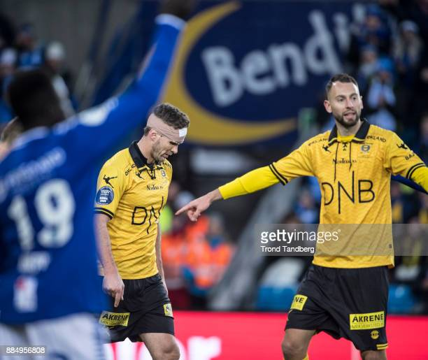 Frode Kippe Stefan Antonijevic during Norway Cup Final between Sarpsborg 08 v Lillestrom at Ullevaal Stadion on December 3 2017 in Oslo Norway
