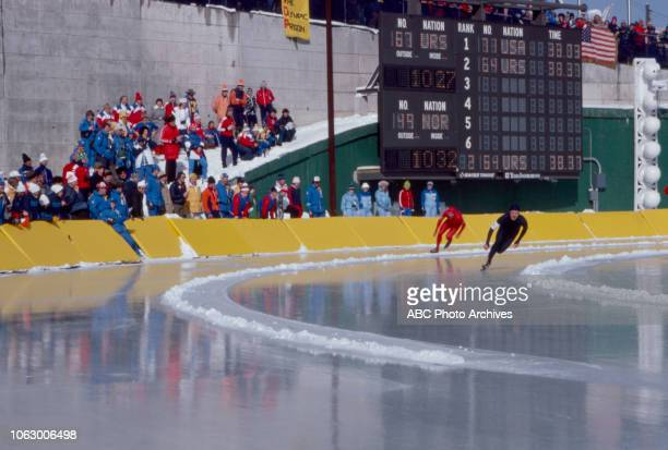 Frode Rønning Anatoly Medennikov competing in the Men's 500 metres speed skating event at the 1980 Winter Olympics / XIII Olympic Winter Games James...