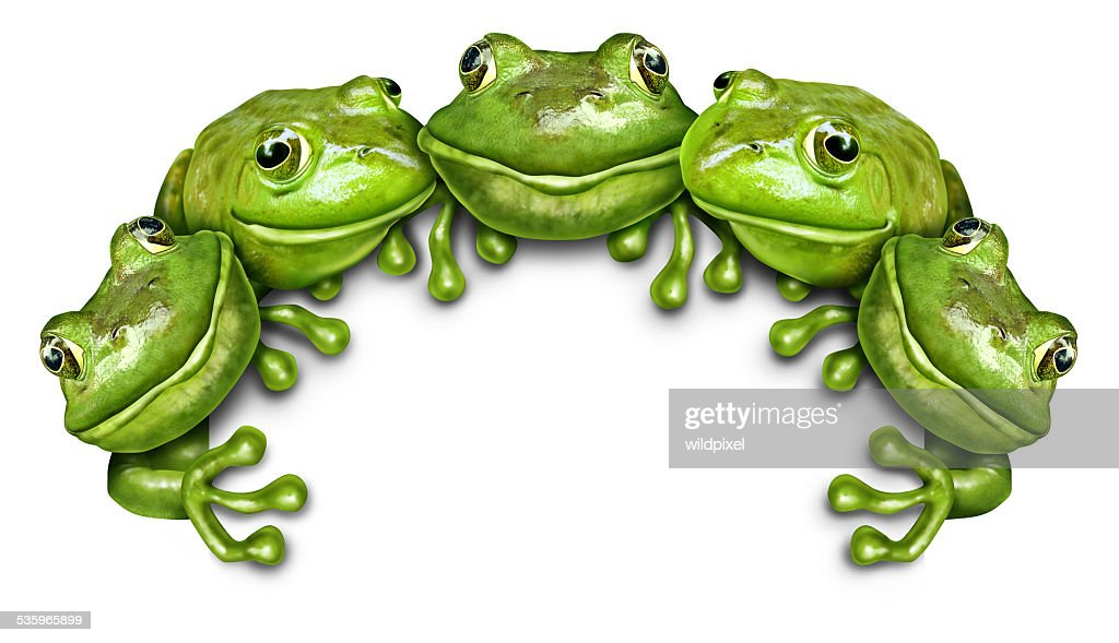 Frog Group Sign : Stock Photo