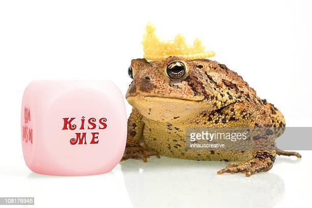 Frog Wearing Crown Beside Kiss Me Dice