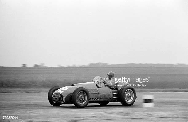 Froilan Gonzalez hustles his 4.5-liter Ferrari 375/F1 car through Abbey Curve during the British Grand Prix at Silverstone, 14th July 1951.