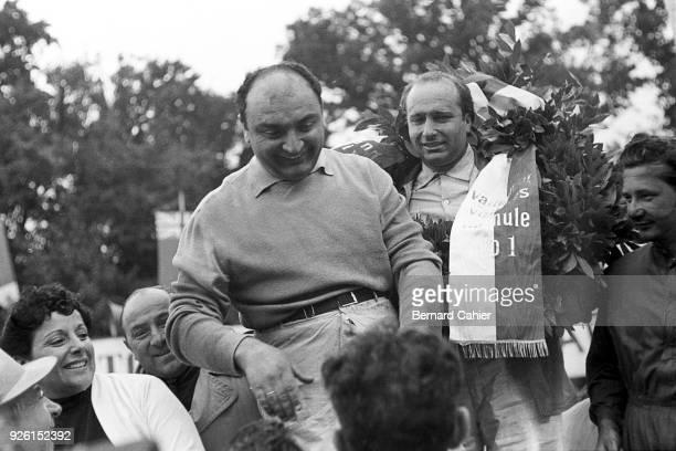 Froilan Gonzalez Juan Manuel Fangio Hans Herrmann Grand Prix of Switzerland Circuit Bremgarten 22 August 1954 Winner Juan Manuel Fangio with second...