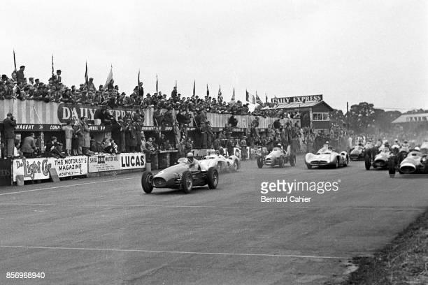 Froilan Gonzalez Juan Manuel Fangio Karl Kling Ferrari 625 Mercedes W196 Grand Prix of Great Britain Silverstone Circuit 17 July 1954 Great start for...