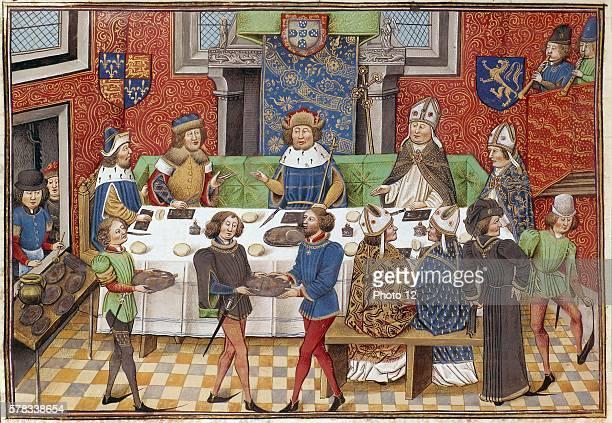 Froissart's Chronicles Banquet: John of Gaunt, Duke of Lancaster, ruler of Aquitaine, pretender to the Castilian throne, & John I, King of Portugal....