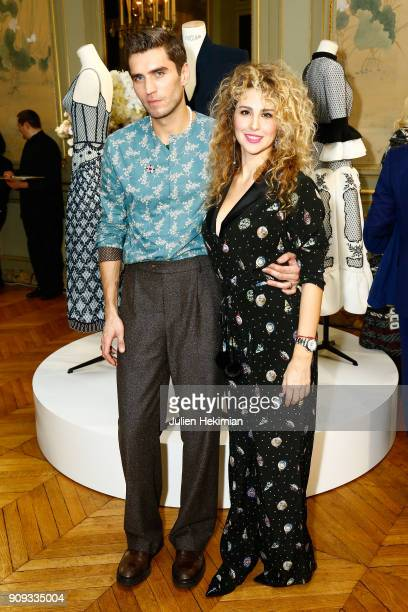 Frol Burimskiy and Eva Anri attend the Ulyana Sergeenko Presentation as part of Paris Fashion Week Haute Couture Spring Summer 2018 show as part of...
