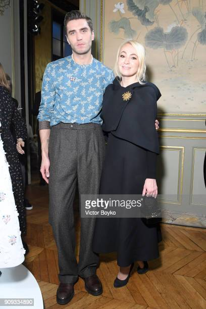 Frol Burimskiy and Yana Rudkovskaya attend the Ulyana Sergeenko Presentation as part of Paris Fashion Week Haute Couture Spring Summer 2018 show as...