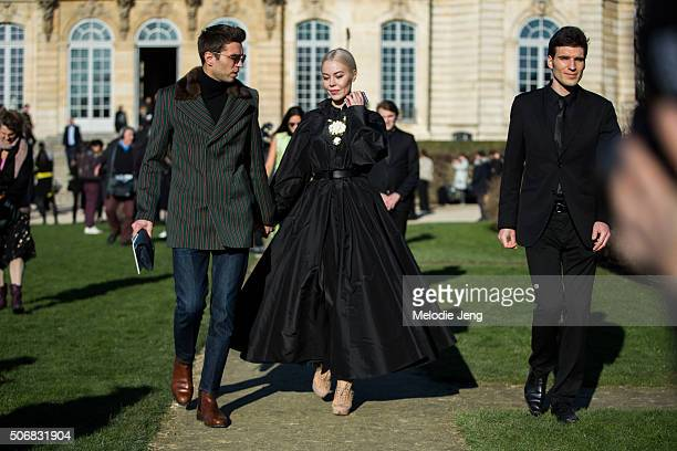Frol Burimskiy Ulyana Sergeenko attends the Dior Couture show at Musee Rodin on January 25 2016 in Paris France