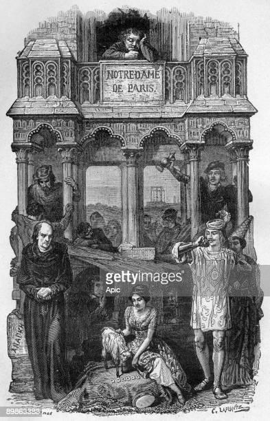 Frollo Esmeralda Phoebus Quasimodo illustration of novel Notre Dame de Paris by Victor Hugo engraving by Laplante Aime de Lemud 1877
