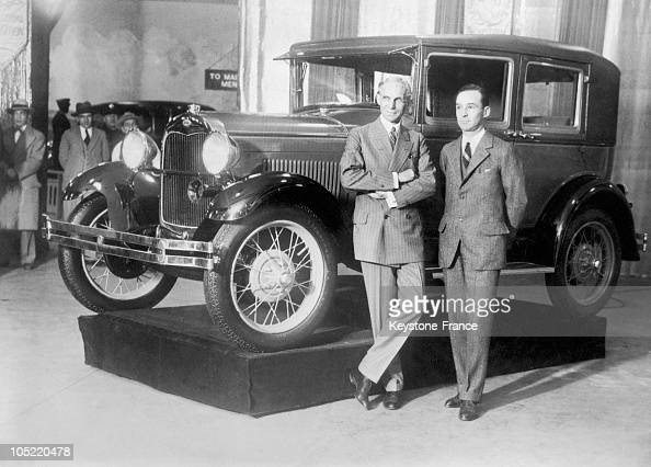 Henry ford and his son edsel in front of their new model for Ford models new york