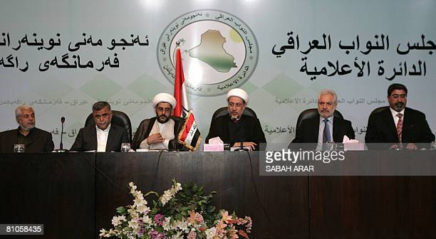 Hadi AlAmeri the head of Badr organization Sheikh Salah alObeidi spokesman for firebrand Shiite cleric Moqtada alSadr's office in the southern holy...