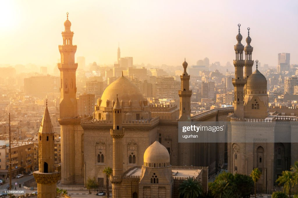 From above view of the Mosques of Sultan Hassan and Al-Rifai. : Stock Photo