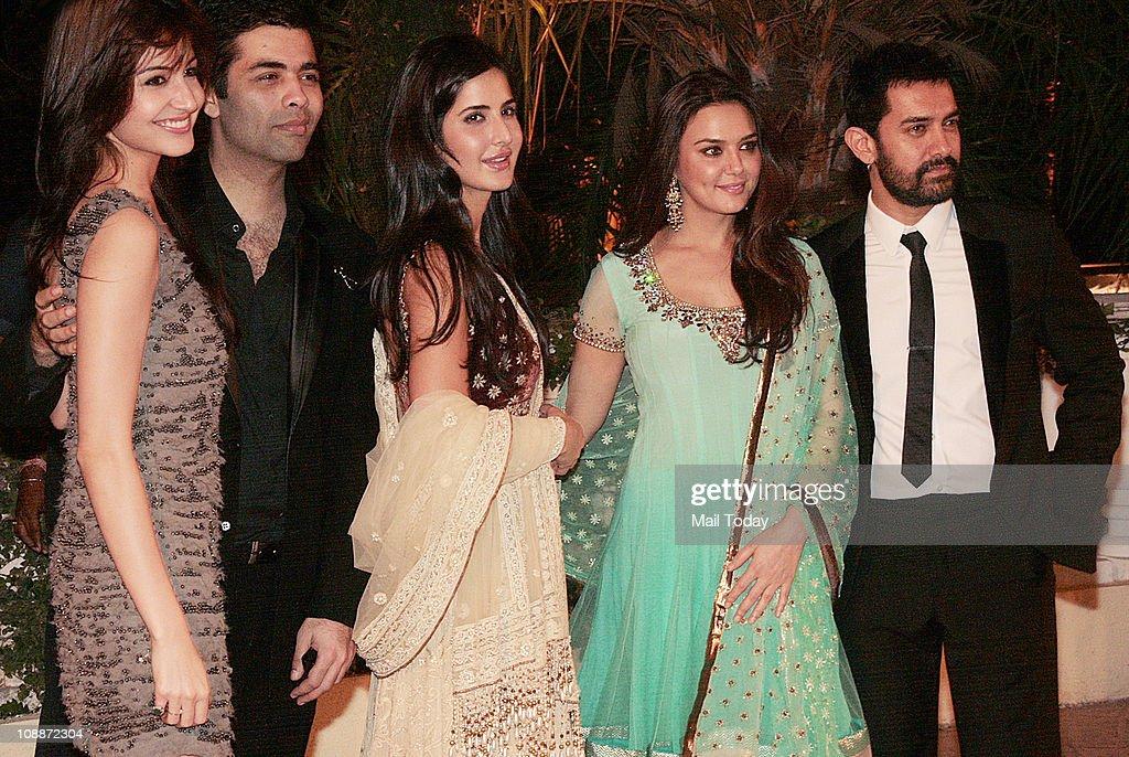From Anushka Sharma Karan JoharKatrina KaifPreity Zinta and Aamir Khan at Imran Khan and Avantika Malik`s wedding reception party which was organised.