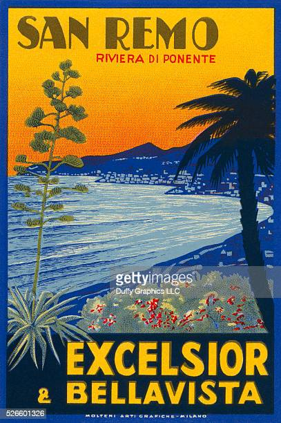 From around 1925, this item is like a small poster used to advertise a hotel and identify luggage. -showing beach and palm trees of the Italian...
