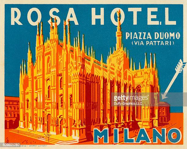 From around 1930 this item is like a small poster used to advertise a hotel and identify luggage showing the famous Italian Cathedral the Duomo of...