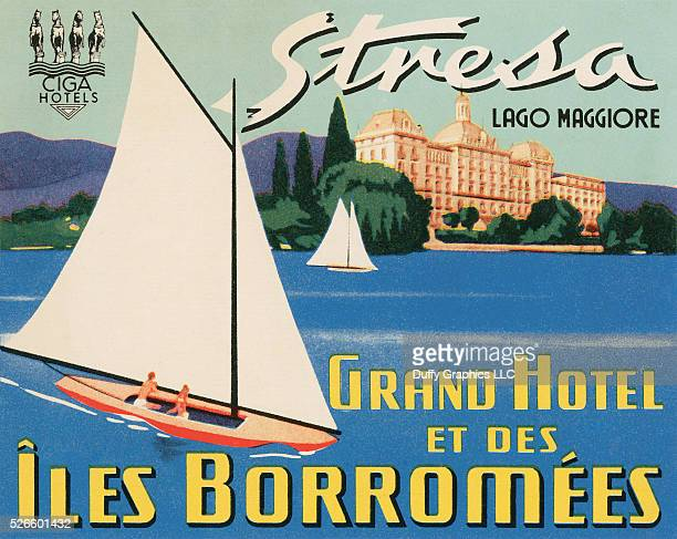 From around 1949 this item is like a small poster used to advertise a hotel and identify luggage showing Lake Maggiore and the famous old hotel site...