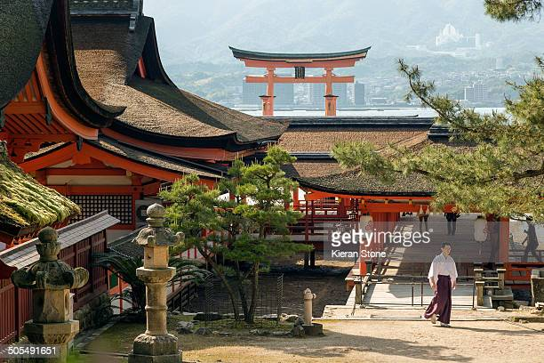 CONTENT] From behind Itsukushima Shrine facing the floating torii gate