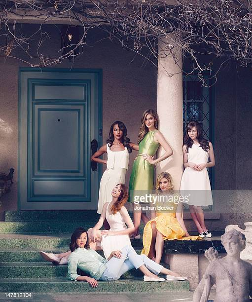 From bottom left Actresses Aubrey Plaza Analeigh Tipton Megalyn Echikunwoke Caitlin Fitzgerald Carrie MacLemore and Greta Gerwig pose for Town...