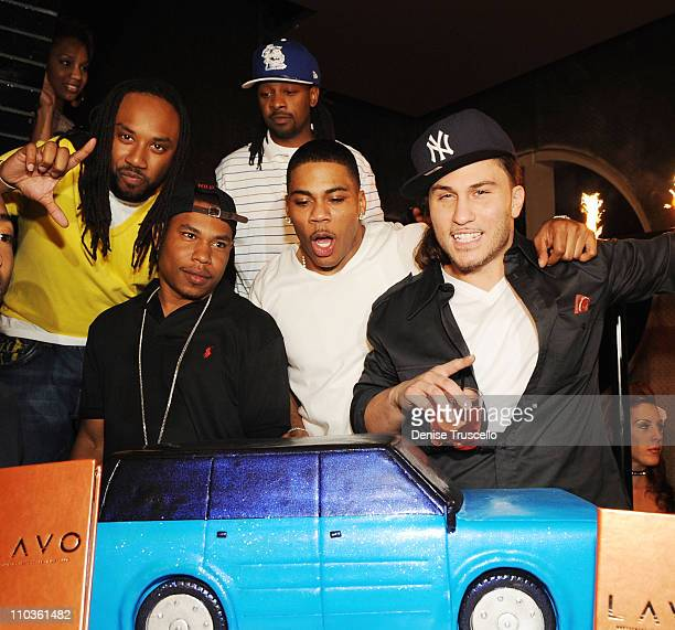 From bottom row left City Spud Nelly Avery Storm top row Kyjuan and Murphy Lee attend Nelly's surprise birthday party at Lavo Restaurant and...