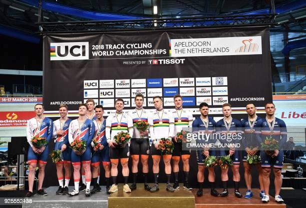 From Britain silver medallists Jason Kenny Jack Carlin Ryan Owens Joseph Truman Philip Hindes Netherland's gold medallists Nils van Thoenderdaal...
