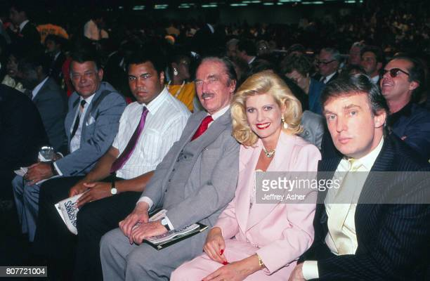 From Businessman Donald Trump and first wife Ivana Fred Trump Muhammad Ali and unknown with Jack Nicholson photo bomb in second row Ringside at Tyson...