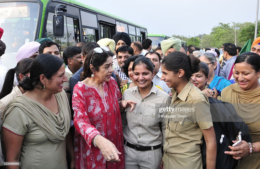 MP from Chandigarh Kirron Kher interacting with lady conductors after flagging off New 49 Midi Buses at ISBT Sector43 on May 20 2016 in Chandigarh...