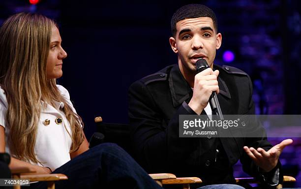 From Degrassi Lauren Collins and Aubrey Graham speak at the Spring Awakening and Degrassi panel discussion with Rosie O'Donnell at the Eugene O'Neill...