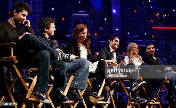 From Degrassi Mike Lobel Shane Kippel Stacey Farber Adamo Ruggiero Lauren Collins and Aubrey Graham speak at the Spring Awakening and Degrassi panel...