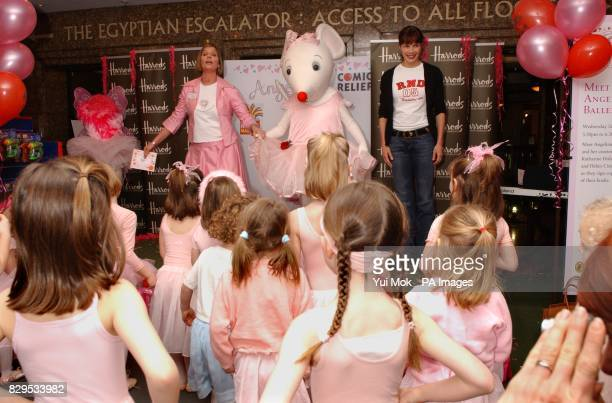Ballerina Darcey Bussell OBE with the children's book character 'Angelina Ballerina' and creator Katherine Holabird during a photocall to celebrate...