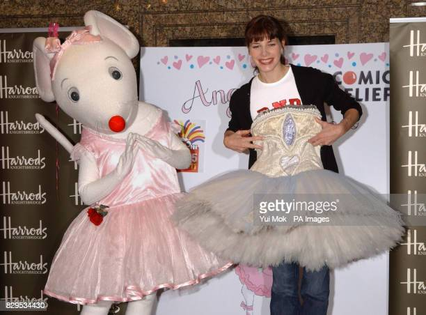 Ballerina Darcey Bussell OBE with the children's book character 'Angelina Ballerina' during a photocall to celebrate the release of Angelina...