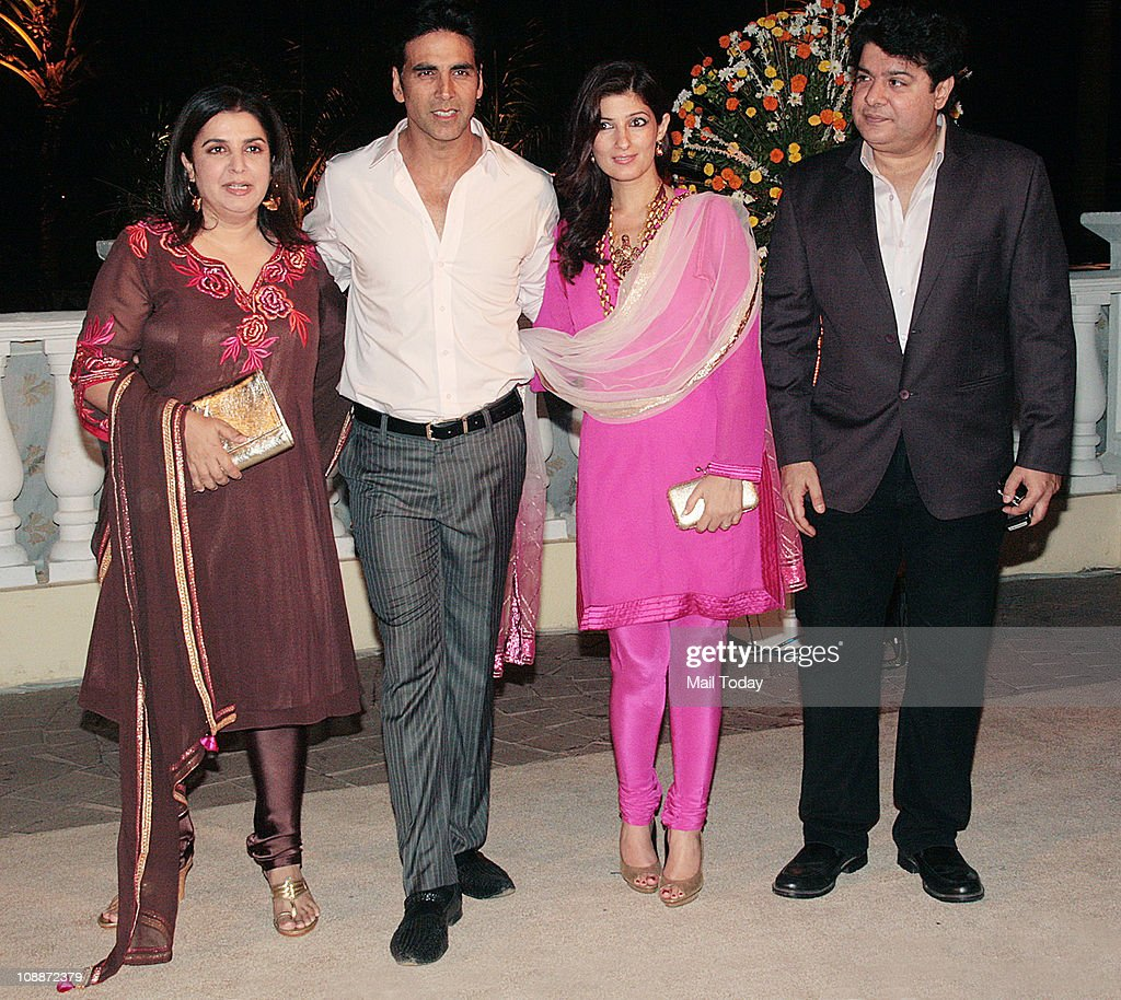 From Farah Khan Akshay Kumar with wife Twinkle Khanna and Sajid Khan at Imran Khan and Avantika Malik`s wedding reception party which was organised...