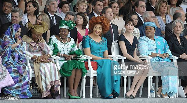 From first row to left to right First ladies from Mauritania's Tekber Mint Ahmed Mali's Lobbo Traore Traore CongoBrazaville's Antoinette Sassou...