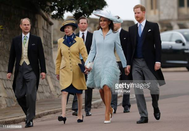 From front row right Britain's Prince Harry Duke of Sussex Lady Frederick Windsor Princess Anne Princess Royal and Prince Edward arrive for the...