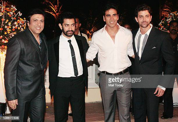 From GovindaAamir KhanAkshay Kumar and Hrithik Roshan at Imran Khan and Avantika Malik's wedding reception party which was organised by Aamir Khan...