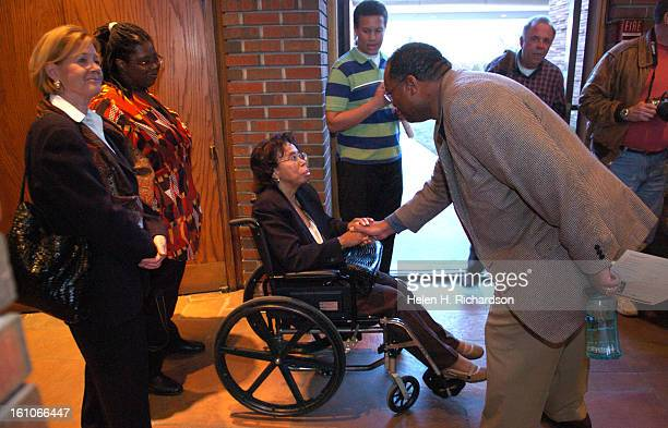 From her wheelchair Thelma Mothershed meets with enthusiastic fans after the interfaith service The nine members of what is now called the Little...