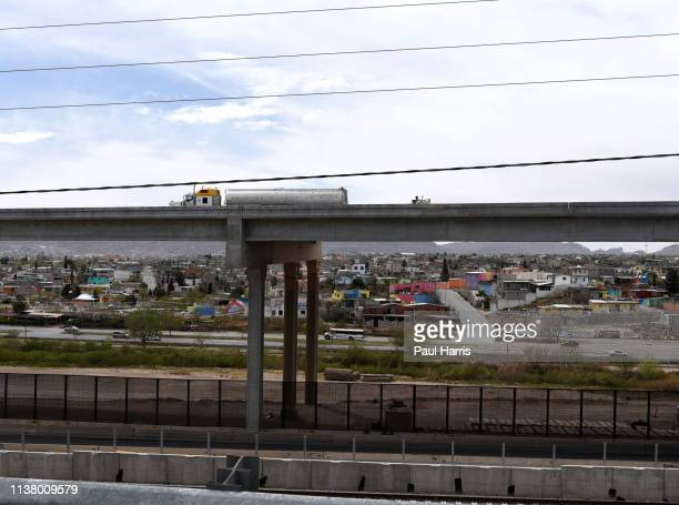 From Interstate highway 10, driving through ElPaso Texas, Ciudad Juárez, Mexico can be seen March 15, 2019 Highway 10, El Paso, Texas