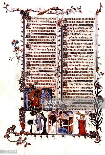 From Jean Pucelle's studio Breviary of Belleville f°17 v David and Goliath the hanging of Judas Extremeonction Extreme unction Hope Vers 13231326...
