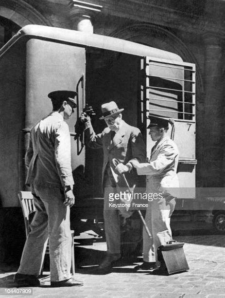 From July 23rd to August 15th 1945 during his lawsuit for collaboration with the enemy in Paris Marshall PeTAIN getting into the prison van which...