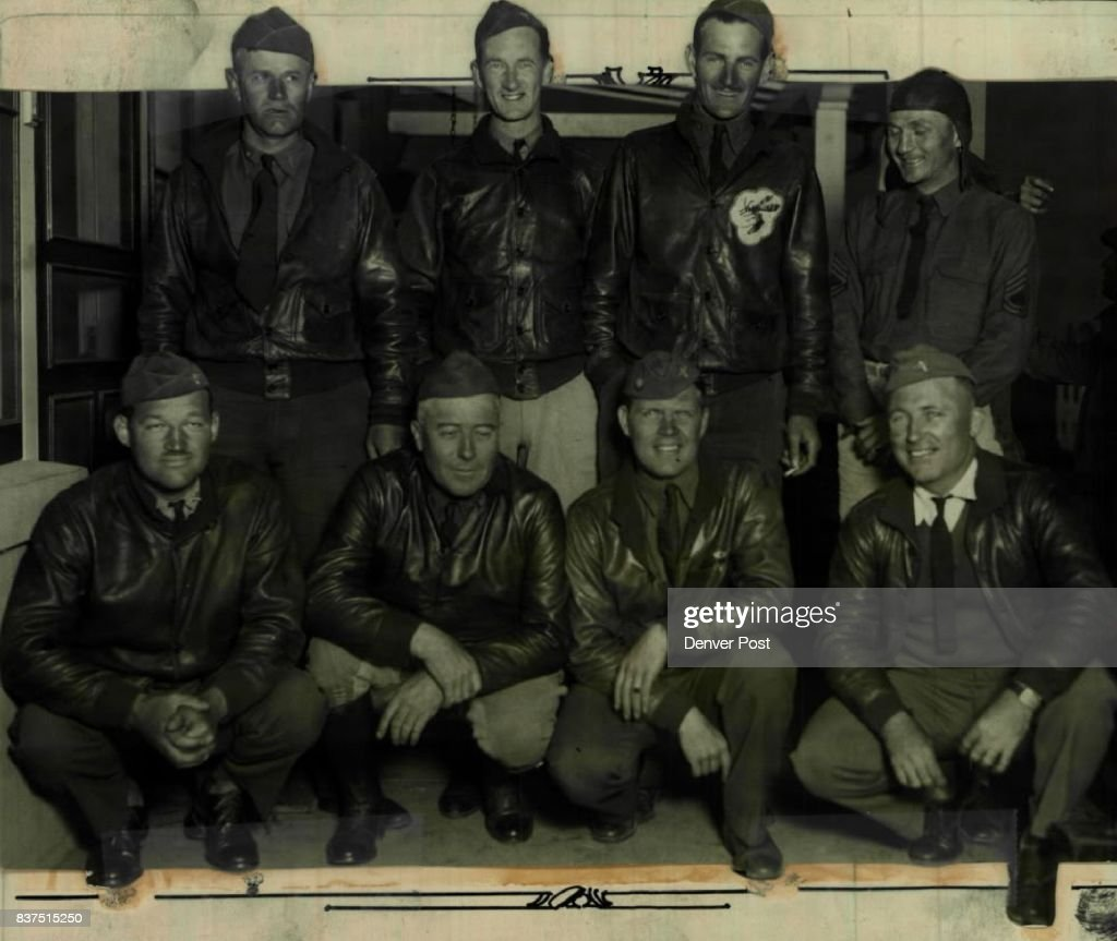 From Kelly Field at San Antonio, Tex., these army flyers hopped to Denver, Tuesday afternoon, to take part in the big army air show sponsored bt The Denver Post at Lowry field. Wednesday. Bottom row, left to right: Lieut, H.A. Bartron, Maj.C.L.Beaven, former executive officer at Fitzsimons hospital; Lieut. Harry Baxter, Lieut. B.S. Thompson, senior air officer on flight. back row, left to right; Maj, E.F. Harrison, Lieut, F.L. Cook, Lieut. Frank Irvin, Sergt, Edward Scott.