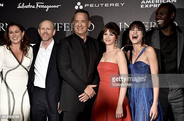 Actress Sidse Babett Knudsen director Ron Howard actors Tom Hanks Felicity Jones Ana Ularu and Omar Sy pose before the world premiere of the movie...