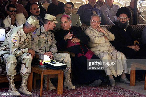From L Brigadier Mark Hertling Colonel Brad May Iraqi Patriarch Simon Warduni Archbishop Jamil Nissan Shiite Sheikh Hojat alIslam Rahim alMusawi...