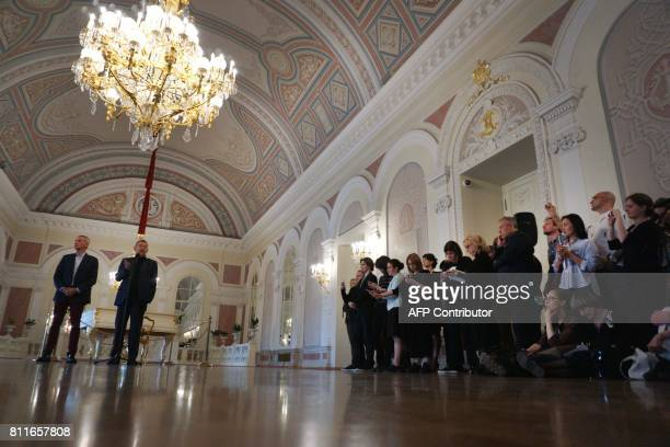 Director of the Bolshoi Ballet Makhar Vaziev and the Bolshoi theatre general director Vladimir Urin give a press conference on the postponement of...