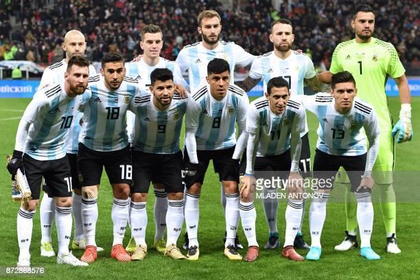Argentina's Lionel Messi Eduardo Salvio Sergio Aguero Enzo Perez Angel Di Maria Matias Kranevitter 2nd row from L Javier Mascherano Giovani Lo Celso...