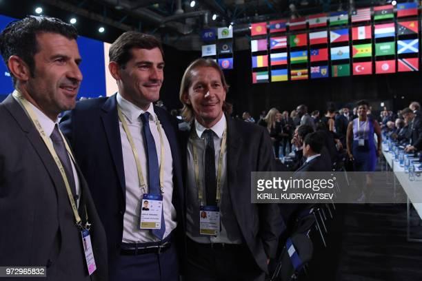 Luis Figo Iker Casillas Miguel Salgado attend the 68th FIFA Congress at the Expocentre in Moscow on June 13 2018