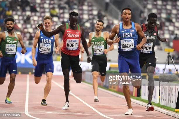 Morocco's Mostafa Smaili, USA's Brannon Kidder, Kenya's Emmanuel Kipkurui Korir, Algeria's Yassine Hethat, USA's Donavan Brazier and Canada's Marco...