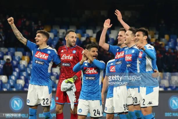 From L Napoli's Italian defender Giovanni Di Lorenzo,Napoli's Colombian goalkeeper David Ospina, Napoli's Italian striker Lorenzo Insigne, Napoli's...